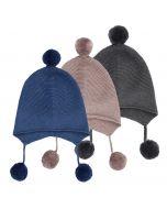Strickmütze für Babys, Marcel, Farben: blau, rosenholz oder anthrazit
