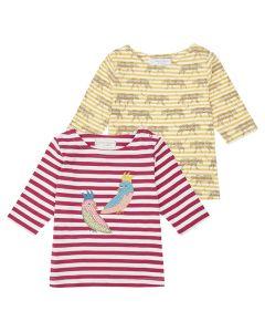 LOUISE Girls T-Shirt ¾ Sleeves Stripes Both