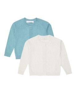 Girls Cardigan with Ajour Pattern, Elsa in Natural White or Turquoise