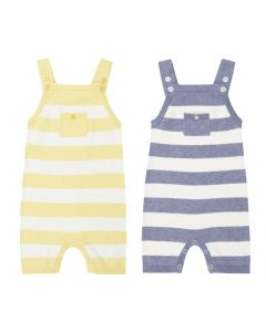 Short Baby Dungarees in yellow/natural white or denim/natural white