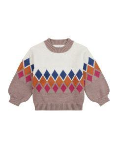 Strick Pullover DELIA für Mädchen, Oben naturweiß, unterer Teil in rosenholz und mit Rautenmustern