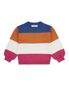 Strick Pullover DELIA für Mädchen, Blockstreifen in blau-orange-weiß -pink