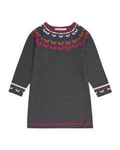 Sportliches Strickkleid für Mädchen, Marva, Farbe: anthrazit mit bunten Jacquards an Ausschnitt und Ärmeln