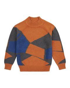 Kuschliger Kinderpulli KURUK, Farben: orange mit grafischem Muster in blau und anthrazit