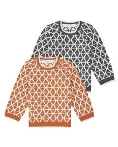 Warme Baby-Strickpullis, Victor, Farben: orange-naturweiß oder anthrazit-naturweiße Rauten Jacquards