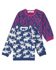Baby Strickpullover VICTOR, Zwei Jacquards Varianten: Blau mit Rentieren in weiß  und Blau mit Pinguinen in pink