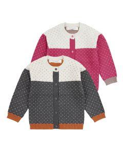 Warme Baby Strickjacke ERIN, Farben: pink gemustert oder anthrazit gemustert mit kleinen eingestrickten Pünktchen