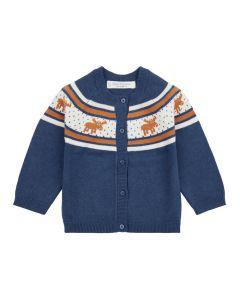 Baby Strickjacke MAXIM, Farbe: blau mit Rundpasse in orange mit Rentieren