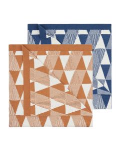 Babydecke ZEUS, Farben: Jacquard Muster in blau-naturweiß oder in orange-naturweiß