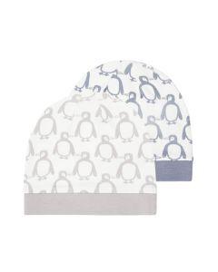 Babymütze Pinguine mit Bündchen, Yo, in steinblau oder taupe