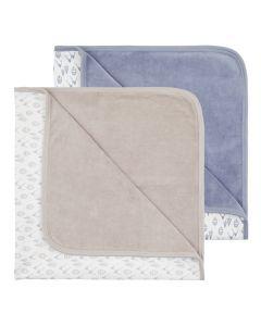 Baby Nicki-Decke, Sita, Eine Lage Nicki unifarben steinblau oder taupe, andere Lage Interlock bedruckt mit Bergmotiven