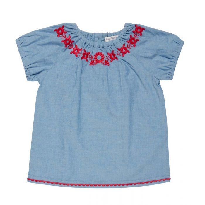 Mädchen Bluse hellblau mit  pinken Stickereien, Adriana