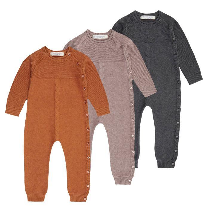 Langer Baby Strick Strampler YACI, Farben: orange, rosenholz oder anthrazit