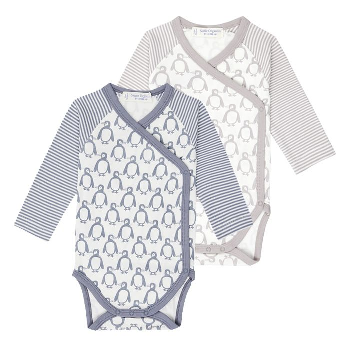 YGON Baby Wrap Body, Pinguindruck in steinblau oder taupe