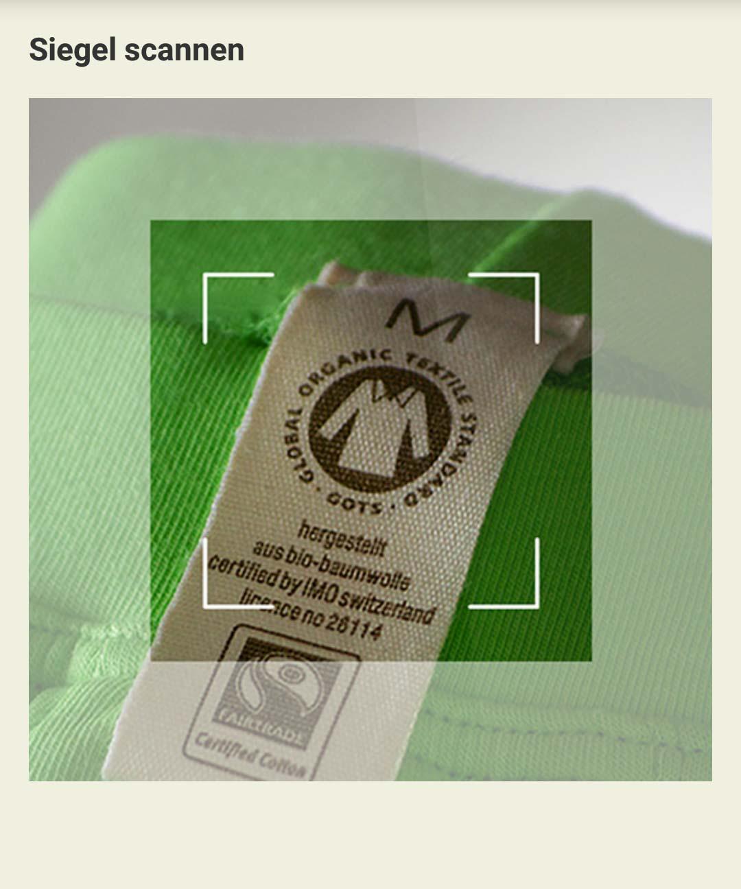 59217fbf03fcee Einfach mit dem Siegelscanner der App über die Handy-Kamera das Siegel auf  dem Kleidungsstück