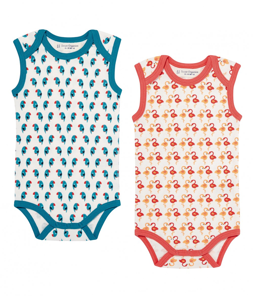 Baby Body sleeveless Retro Yaro, flamingo & parrot