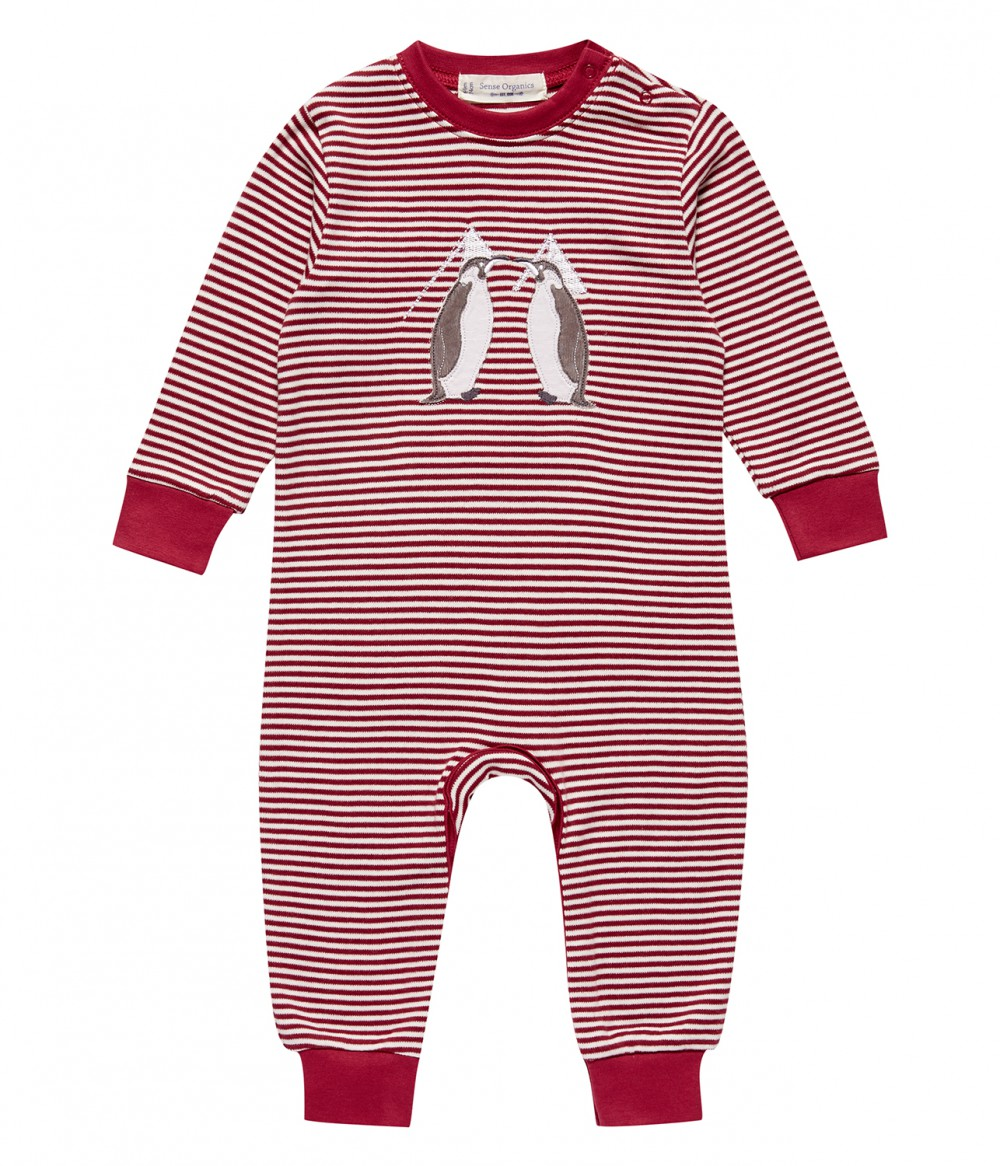 Baby Romper berry stripes with applique, Viktor | Organic baby clothes