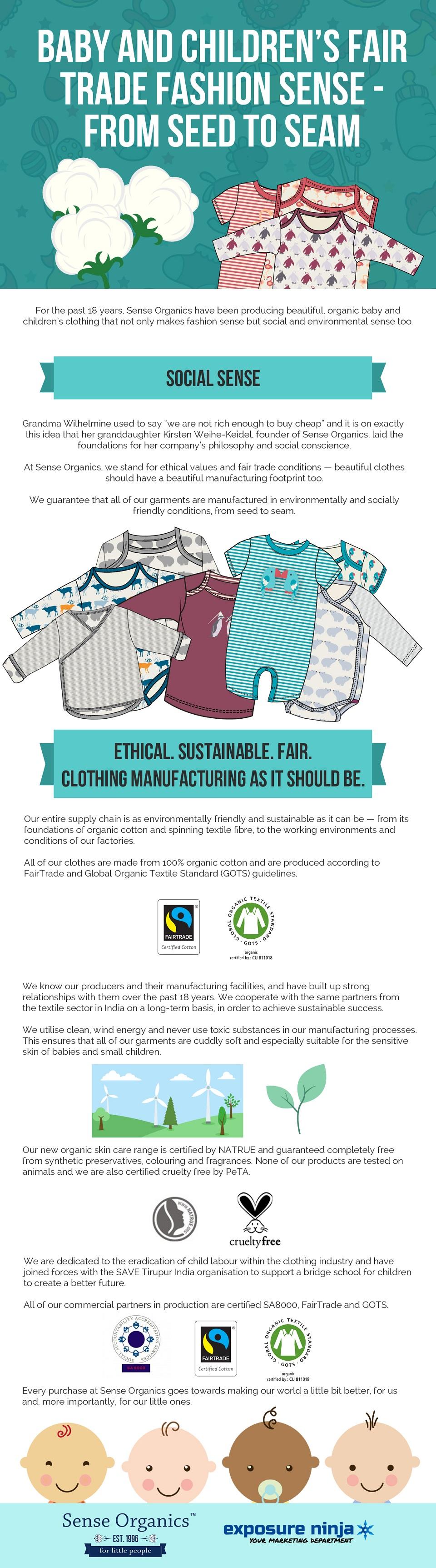 baby and children's fair trade fashion sense - from seed to seam | sense organics